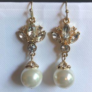 Pearl and rhinestone drop earrings